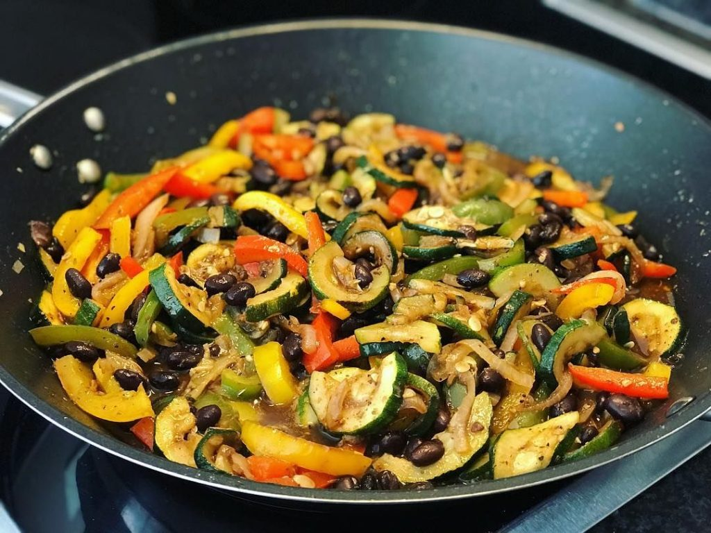 Vegan Fajitas Black Beans Zucchini